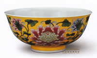 Yellow cloisonne enamel bowl with peonies.jpg
